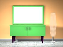 Furniture. 3d green furniture with lamp Stock Photo