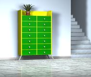 Furniture. 3d green furniture with lamp Royalty Free Stock Images