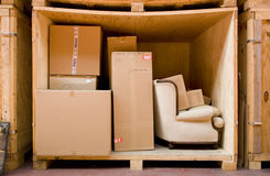 Furniture. A huge box full of furniture ready for shipping Royalty Free Stock Photography