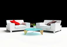Furniture. Modern furniture on a white background 3d image Royalty Free Stock Photo