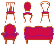Furniture. Collection  of furniture of various style Royalty Free Stock Images