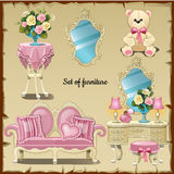 Furniture and accessories for girls Stock Image
