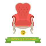 Furniture, antique chair baroque, flat design Stock Image