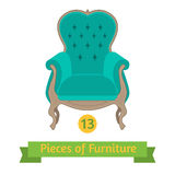 Furniture, antique chair baroque, flat design Stock Photos