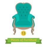 Furniture, antique chair baroque, flat design Stock Photos