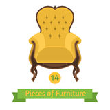 Furniture, antique chair baroque, flat design Royalty Free Stock Photo