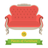 Furniture, antique sofa baroque, flat design Stock Photos