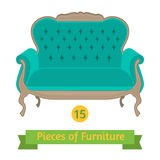 Furniture, antique sofa baroque, flat design Royalty Free Stock Image
