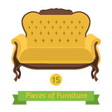 Furniture, antique sofa baroque, flat design Stock Image
