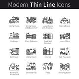 Furniture, appliances and home furnishings set. Interior design ideas or projects. thin black line art icons. Linear style illustrations isolated on white Stock Photos