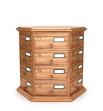 Furniture, archives. Bedside table, wooden boxes. Modern designer, chest of drawers, isolated on white background. 3d illustration Royalty Free Stock Photography
