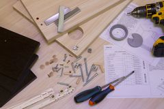 Furniture assembly stock photo
