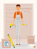Furniture assembly service man. Vector cartoon character in flat style design. Handyman with drill tool and a hammer in. Hands. Furniture collector with Royalty Free Stock Photo