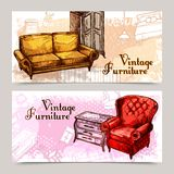 Furniture Banner Set. Furniture horizontal banner set with sketch sofa and armchair isolated vector illustration Stock Photo