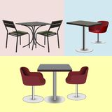Furniture for bars and cafes tables and chairs. Vector illustration Stock Photography