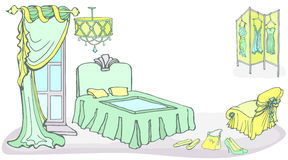 Furniture bed curt screen2 color mint. Outline set of furniture for a female bedroom in a classic style, hand drawn, in a vector, In delicate mint colors, green Stock Image