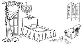 Furniture bed curt screen2. Sketch set of furniture for a female bedroom in a classic style, hand drawn, in a vector  black on a white background Royalty Free Stock Images