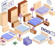 Furniture for bedroom in isometric style. Set icons of furniture in isometric style. The collection includes beds, bedside tables, lamps, wardrobes, armchair Stock Photos