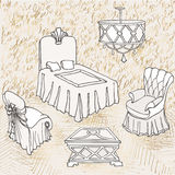 Furniture  bedroom love gold. Outline of bedroom furniture suite, lovers, with gold letters love sketch, gold and grey color Royalty Free Stock Image
