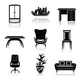Furniture black icons Royalty Free Stock Photo