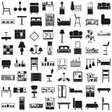 Furniture black icons on white. Black icons on white background on the topic of furniture, decor Royalty Free Stock Image