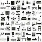 Furniture black icons on white Royalty Free Stock Image