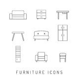 Furniture black vector icon set Royalty Free Stock Images