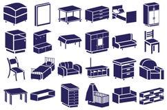 Furniture blue icons on white Stock Photos