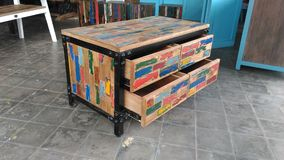 Furniture buffet drawer recycle wood. With paint color boat Stock Photography