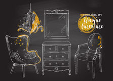 Furniture chalkboard drown Royalty Free Stock Images