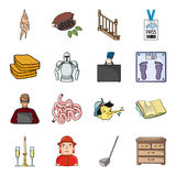 Furniture, China, woodworking, apiary and other web icon in cartoon style. Italy, profession icons in set collection. Furniture, China, woodworking, apiary and Royalty Free Stock Photos