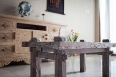 Furniture in classic Balinese style details light wood Stock Photos