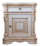 Furniture in classic style. white tree with gold trim. patina. carving. luxury furniture with element woodcarving. white nightstan. D. isolated on the white stock photo
