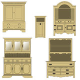 Furniture. Classical style wood furniture, vector illustration Royalty Free Stock Images