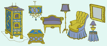 Furniture col stove chair vector illustration