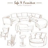 Furniture collection sketch drawing vector Stock Images