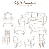 Furniture collection sketch drawing vector Royalty Free Stock Images