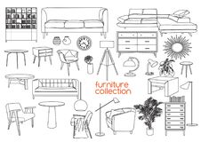 Interior design vector illustration. furniture of living room. Furniture collection. vector interior design elements. outlined furniture drawing. furniture vector illustration
