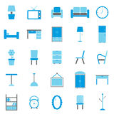 Furniture color icons on white background Royalty Free Stock Photos