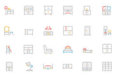 Furniture Colored Outline Vector Icons 3 Stock Photo