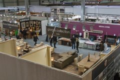 Furniture companies boothes at exhibition Stock Photos