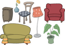 The furniture complete set. The complete set of objects of furniture for interiors of rooms Royalty Free Stock Images