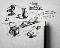 Furniture concept design sketching on white paper Royalty Free Stock Image