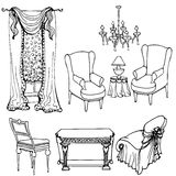Furniture curtains set arm3 Royalty Free Stock Photos