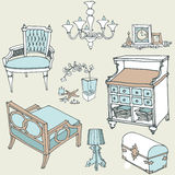 Furniture decor provance1 color blue. Sketch of a set of furniture and decor color blue stile Provance Royalty Free Stock Photo
