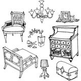 Furniture decor provance1. Sketch of a set of furniture and decor Stock Images
