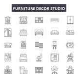 Furniture decor studio line icons, signs, vector set, outline illustration concept. Furniture decor studio line icons, signs, vector set, outline concept royalty free illustration