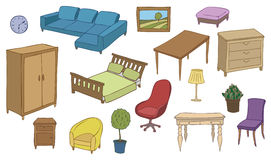 Furniture and decoration color  set Royalty Free Stock Images