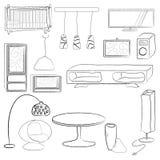 Furniture and decoration set. Illustration Stock Photo