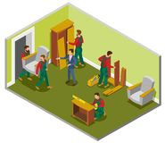 Furniture Delivery Isometric Composition. Room with makers during assembly, customer and loaders carrying chair vector illustration royalty free illustration